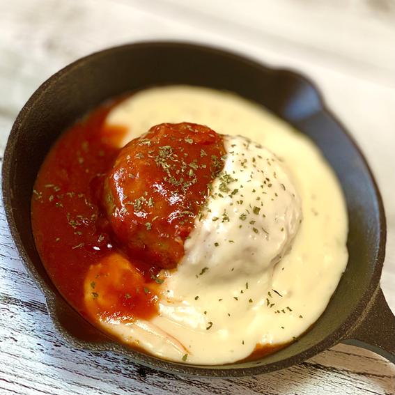 トマト&チーズソースのハンバーグ